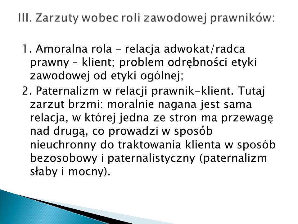 III. Zarzuty wobec roli zawodowej prawników: