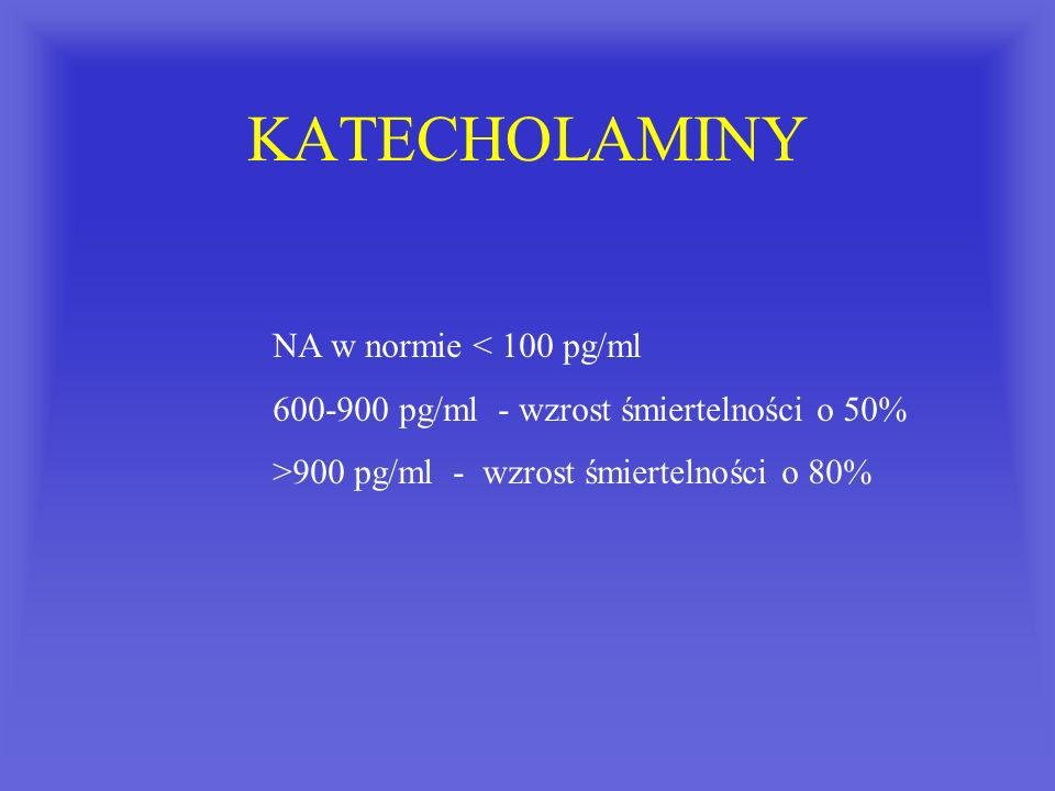 KATECHOLAMINY NA w normie < 100 pg/ml