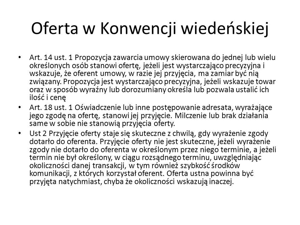 Oferta w Konwencji wiedeńskiej