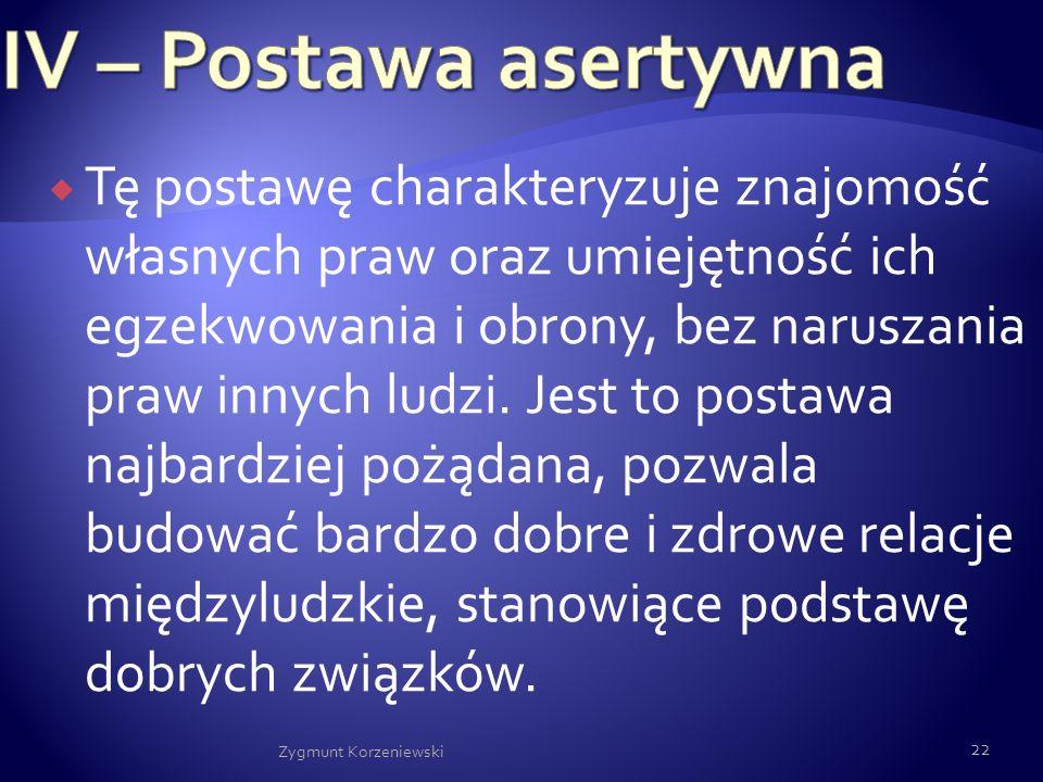 IV – Postawa asertywna