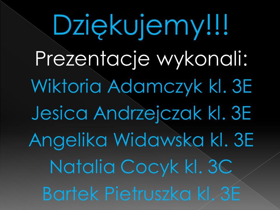 Dziękujemy!!! Prezentacje wykonali: Wiktoria Adamczyk kl. 3E