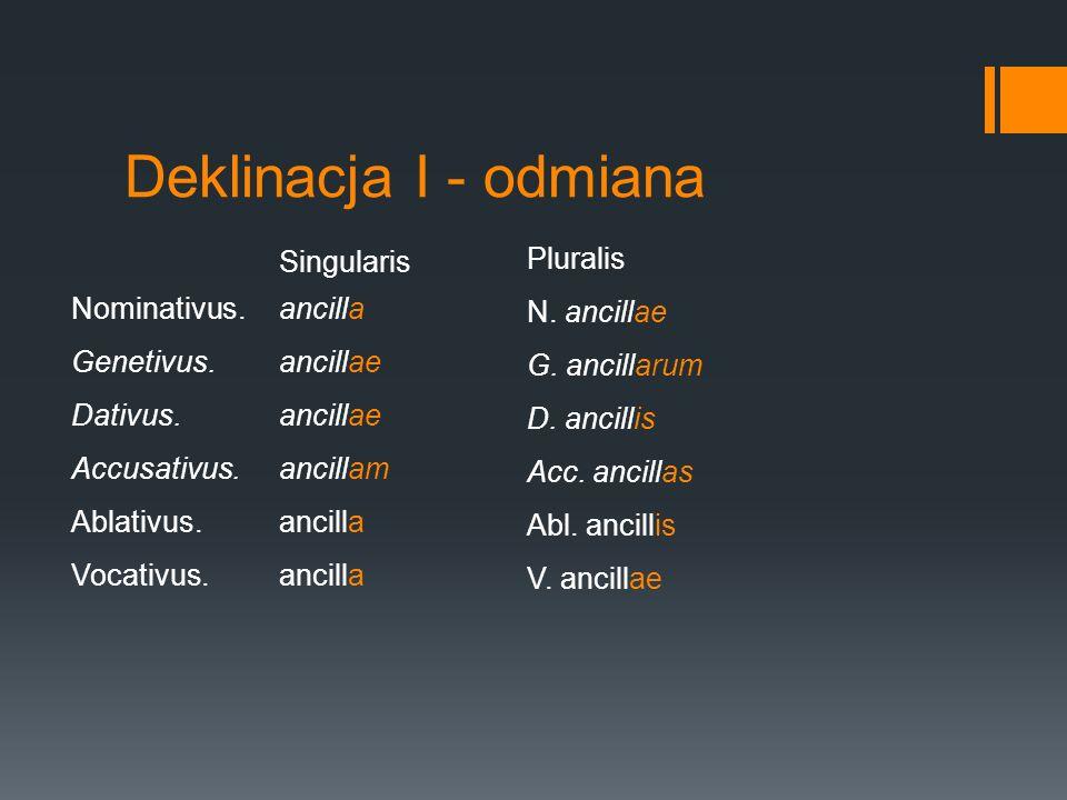 Deklinacja I - odmiana Pluralis Singularis N. ancillae