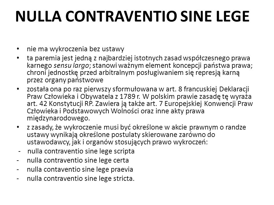 NULLA CONTRAVENTIO SINE LEGE