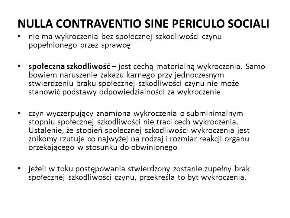 NULLA CONTRAVENTIO SINE PERICULO SOCIALI
