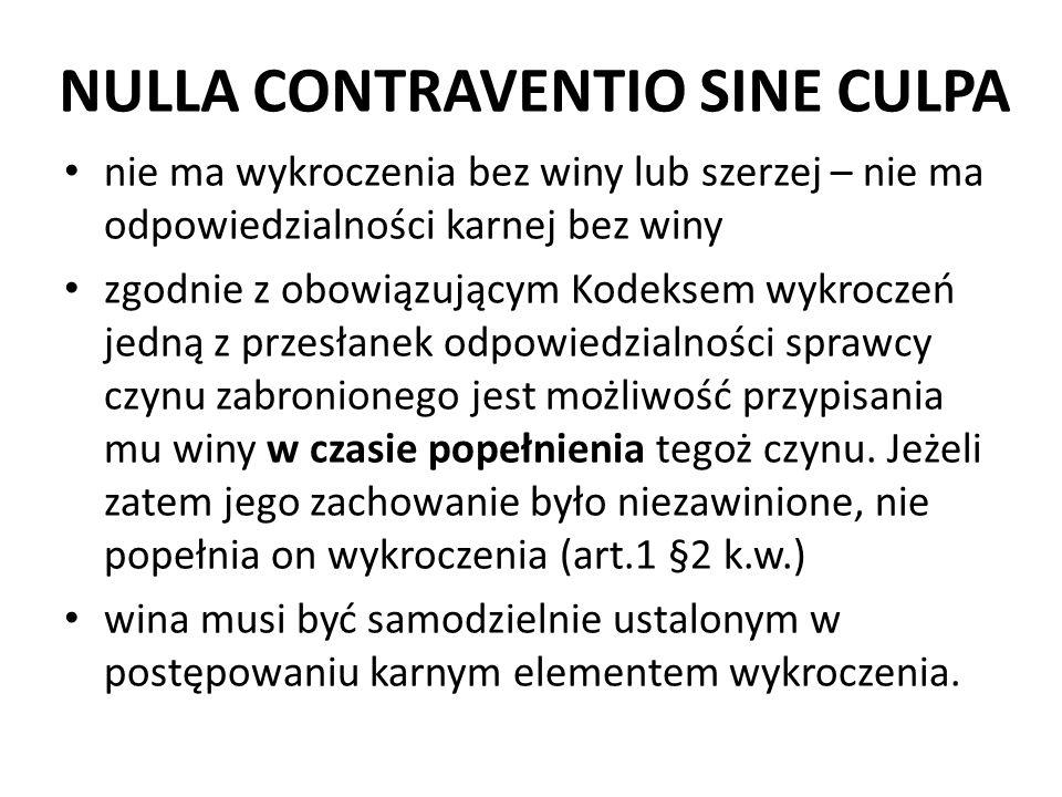 NULLA CONTRAVENTIO SINE CULPA