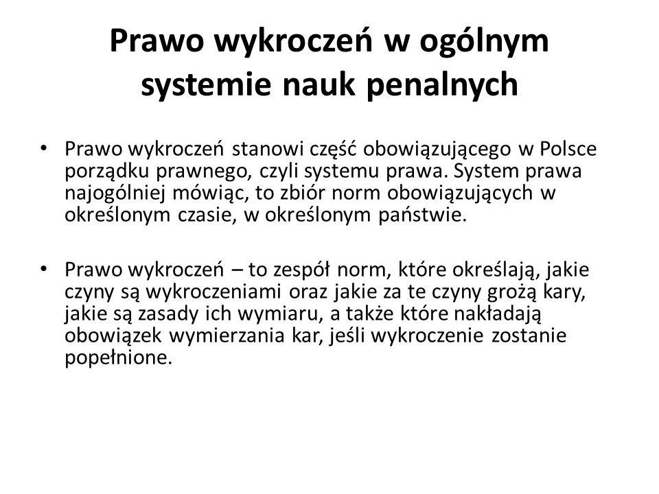 Prawo wykroczeń w ogólnym systemie nauk penalnych