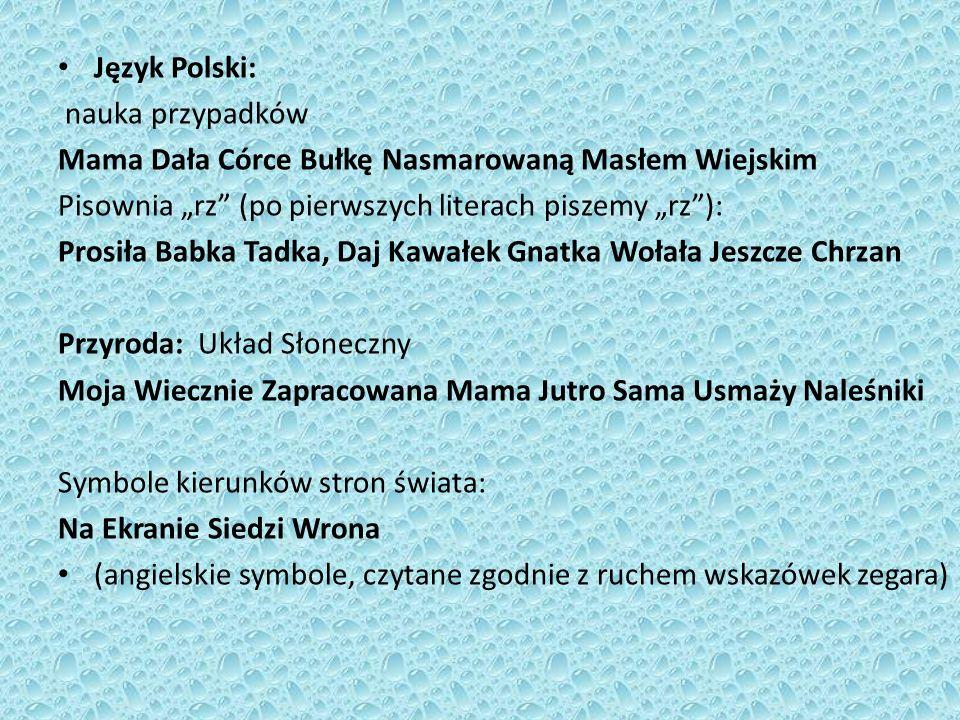 """Język Polski: nauka przypadków. Mama Dała Córce Bułkę Nasmarowaną Masłem Wiejskim. Pisownia """"rz (po pierwszych literach piszemy """"rz ):"""