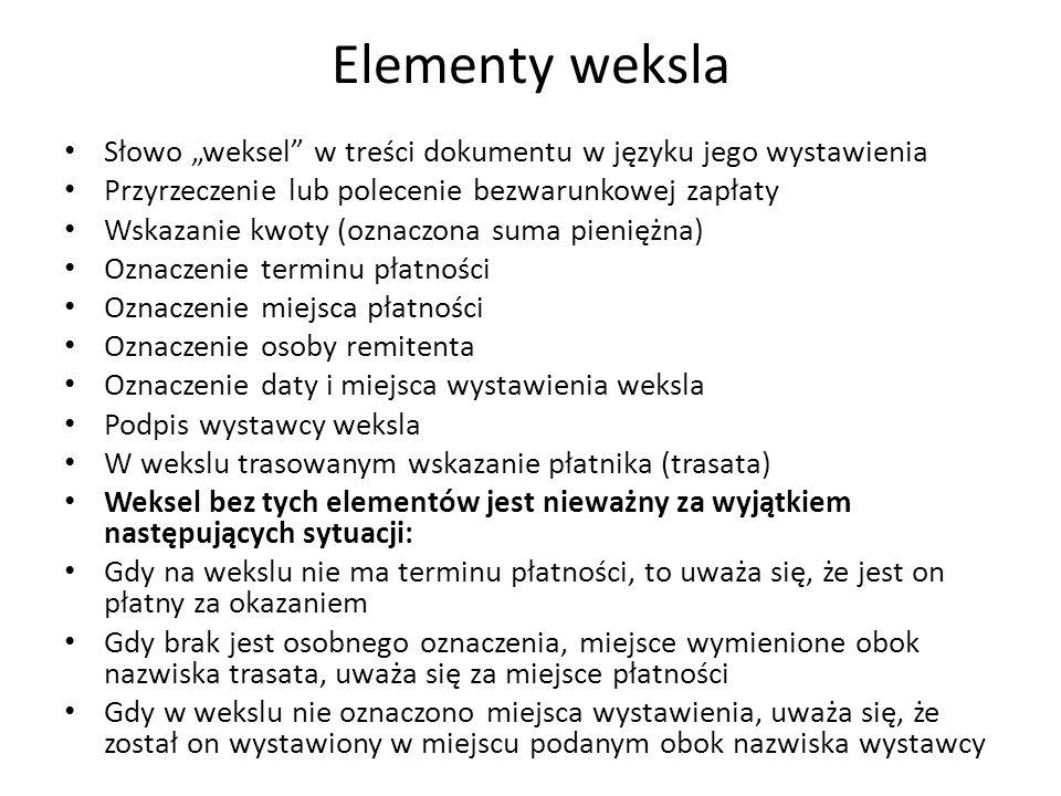 """Elementy weksla Słowo """"weksel w treści dokumentu w języku jego wystawienia. Przyrzeczenie lub polecenie bezwarunkowej zapłaty."""