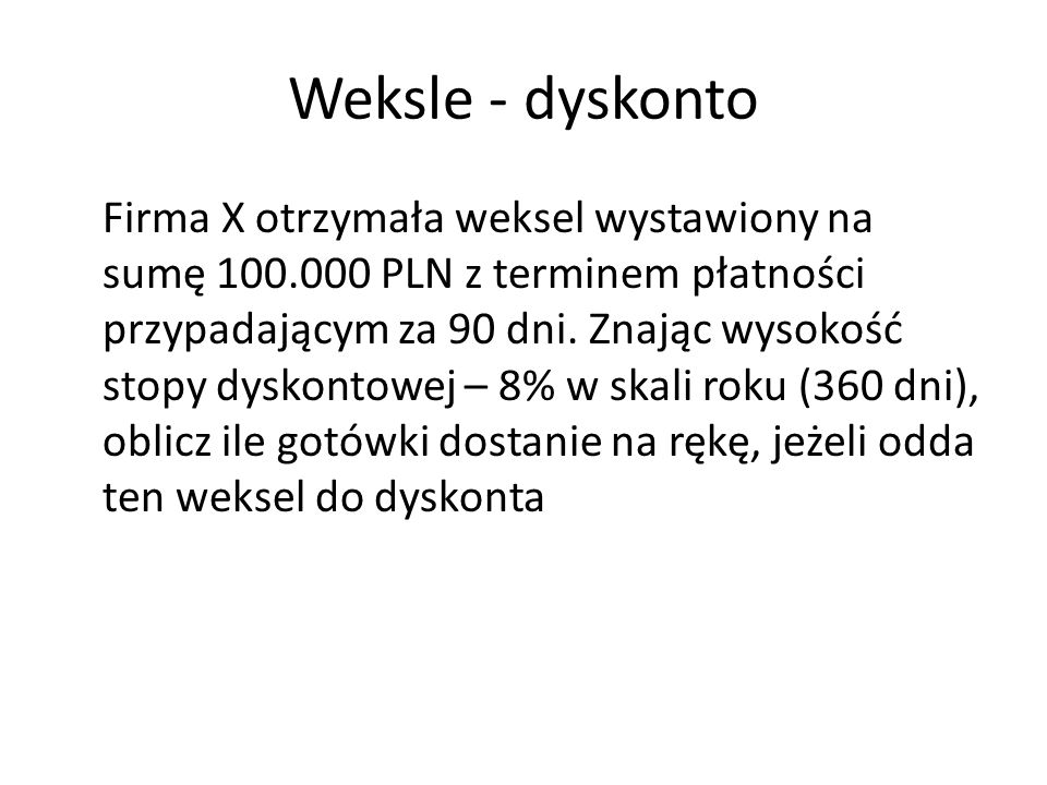 Weksle - dyskonto