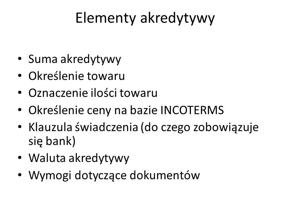 Elementy akredytywy Suma akredytywy Określenie towaru