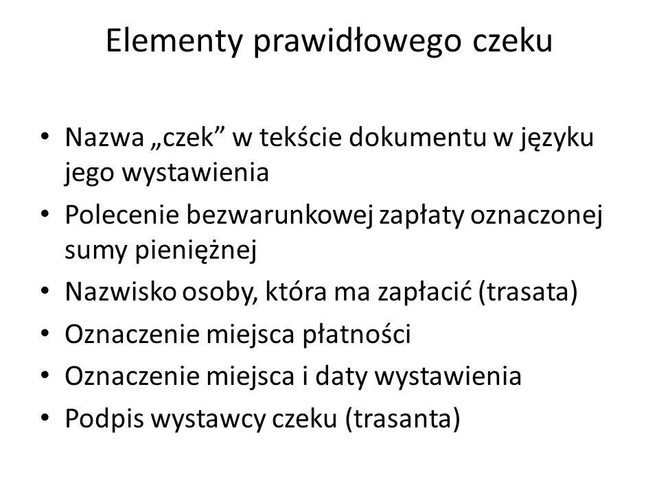 Elementy prawidłowego czeku