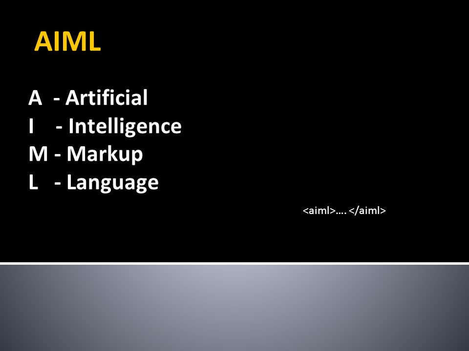 A - Artificial I - Intelligence M - Markup L - Language