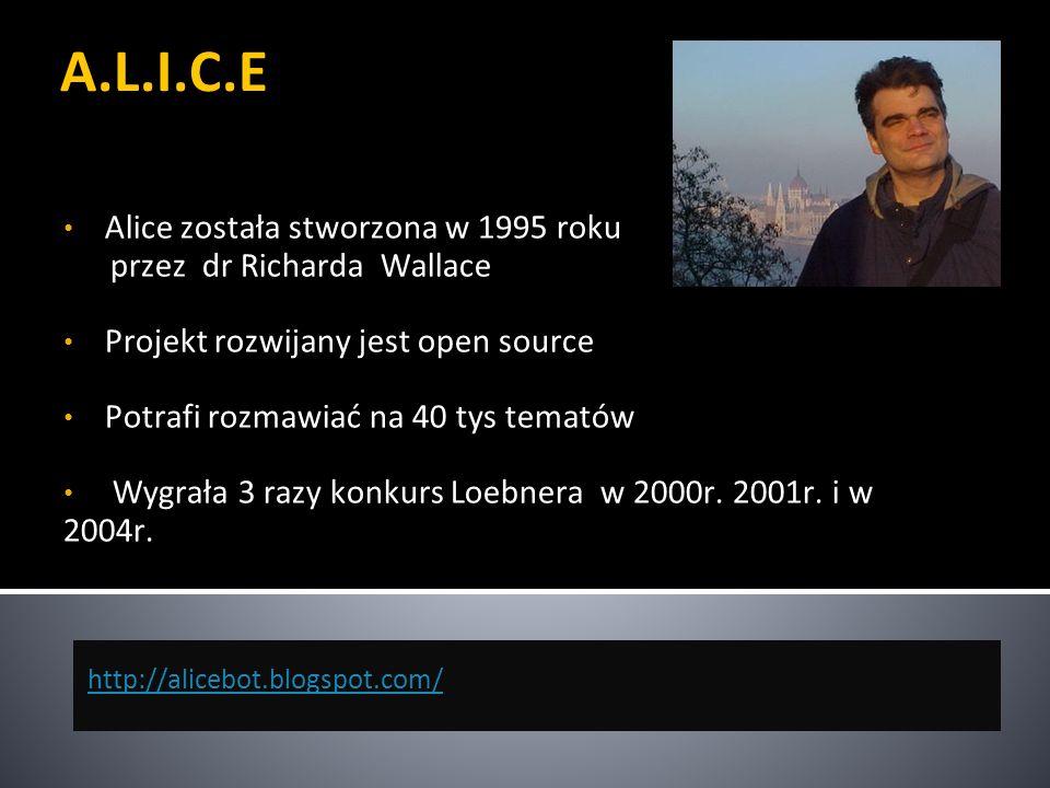 A.L.I.C.E Alice została stworzona w 1995 roku