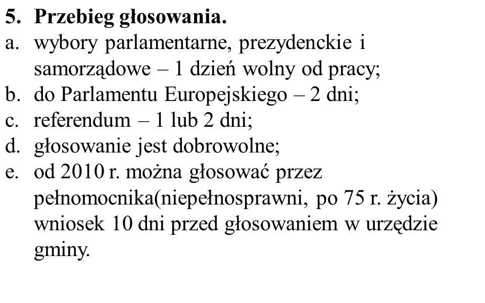 Przebieg głosowania. wybory parlamentarne, prezydenckie i samorządowe – 1 dzień wolny od pracy; do Parlamentu Europejskiego – 2 dni;