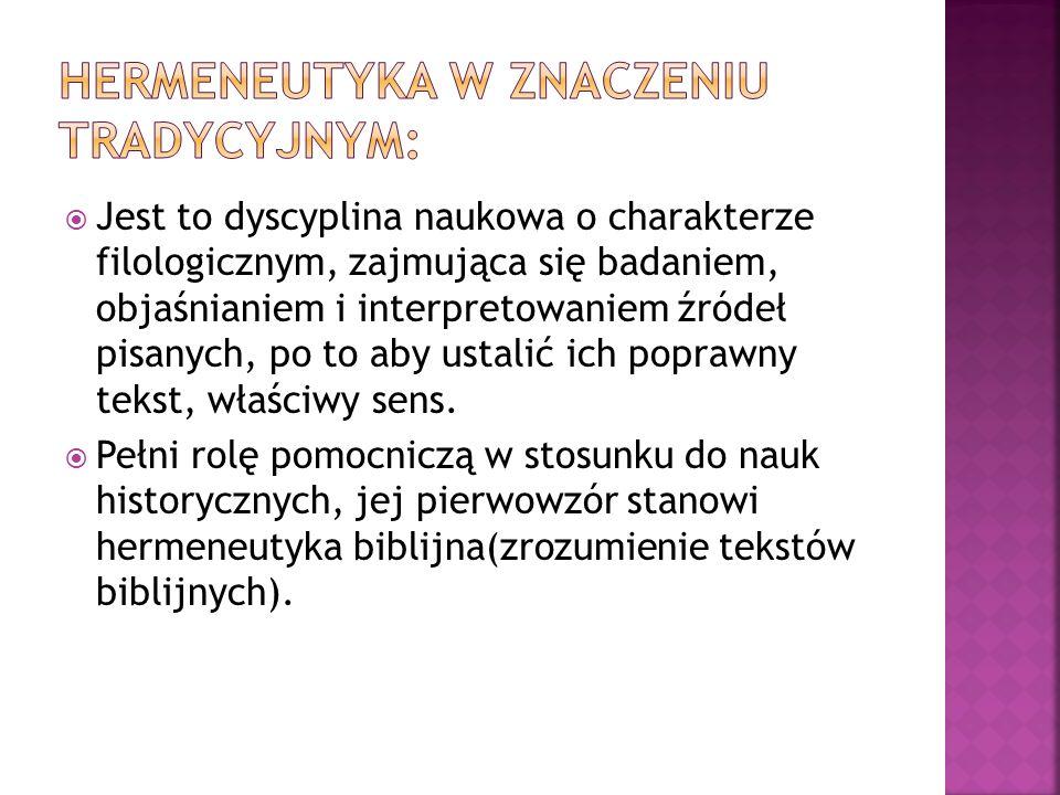 Hermeneutyka W znaczeniu tradycyjnym: