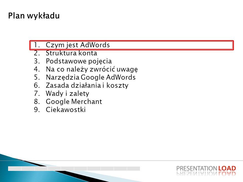 Plan wykładu Czym jest AdWords Struktura konta Podstawowe pojęcia