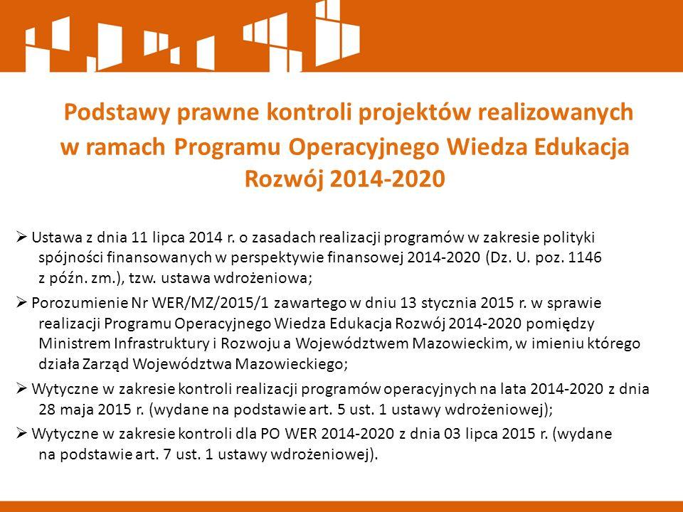 Podstawy prawne kontroli projektów realizowanych w ramach Programu Operacyjnego Wiedza Edukacja Rozwój 2014-2020