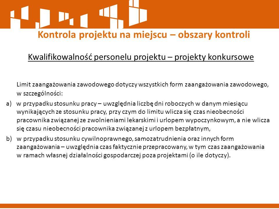 Kontrola projektu na miejscu – obszary kontroli