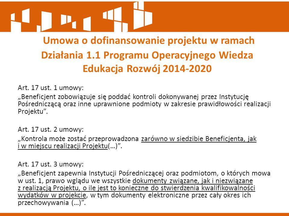 Umowa o dofinansowanie projektu w ramach Działania 1
