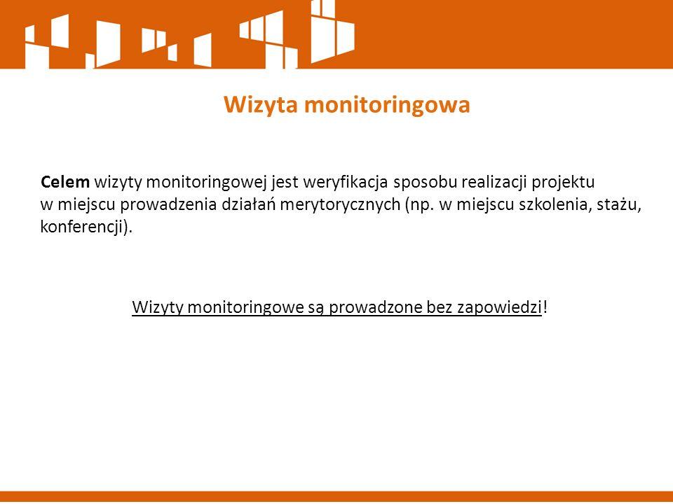 Wizyty monitoringowe są prowadzone bez zapowiedzi!
