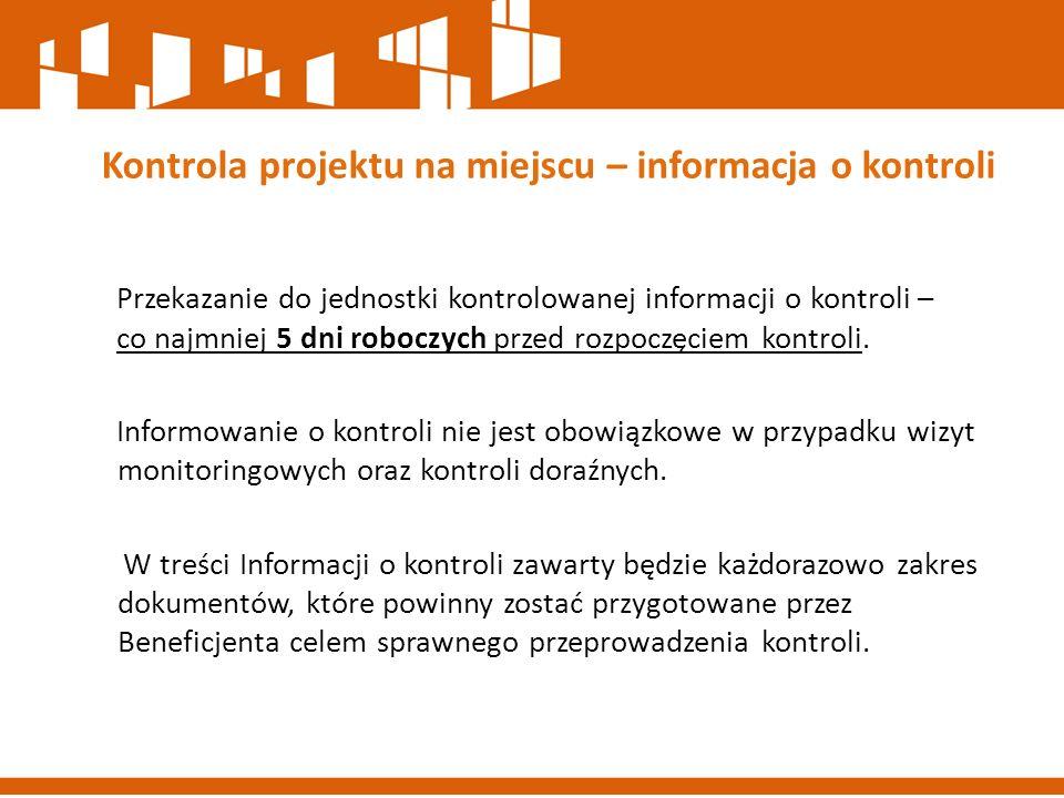 Kontrola projektu na miejscu – informacja o kontroli