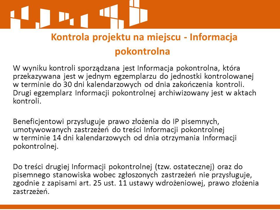 Kontrola projektu na miejscu - Informacja pokontrolna