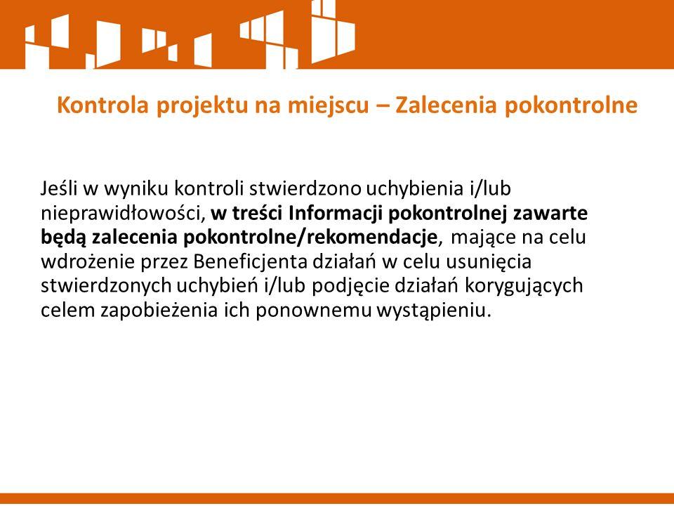 Kontrola projektu na miejscu – Zalecenia pokontrolne