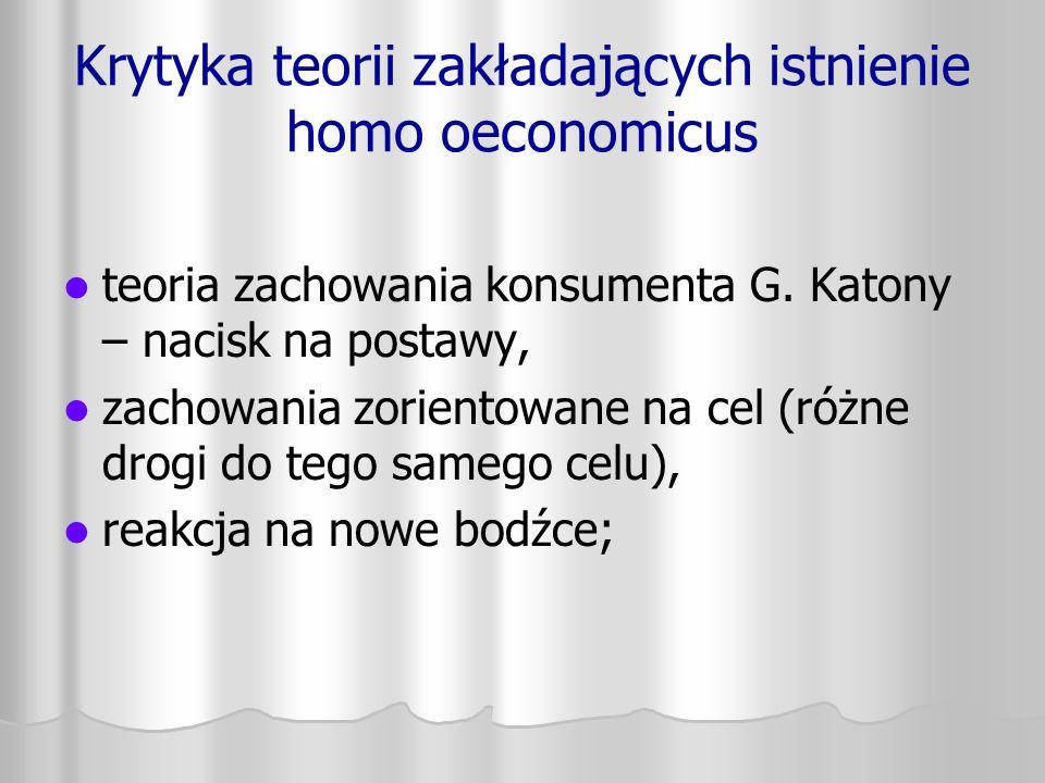 Krytyka teorii zakładających istnienie homo oeconomicus