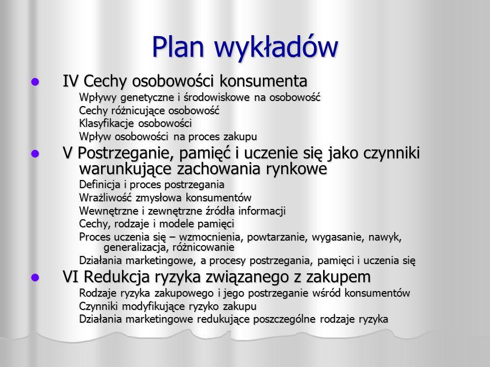 Plan wykładów IV Cechy osobowości konsumenta