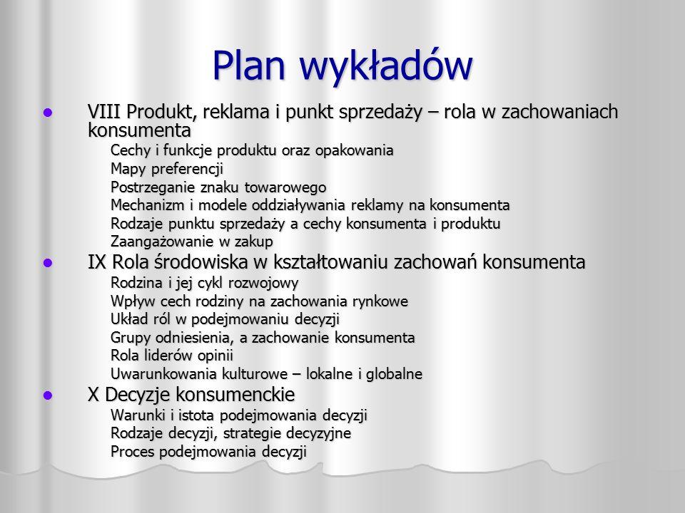 Plan wykładów VIII Produkt, reklama i punkt sprzedaży – rola w zachowaniach konsumenta. Cechy i funkcje produktu oraz opakowania.