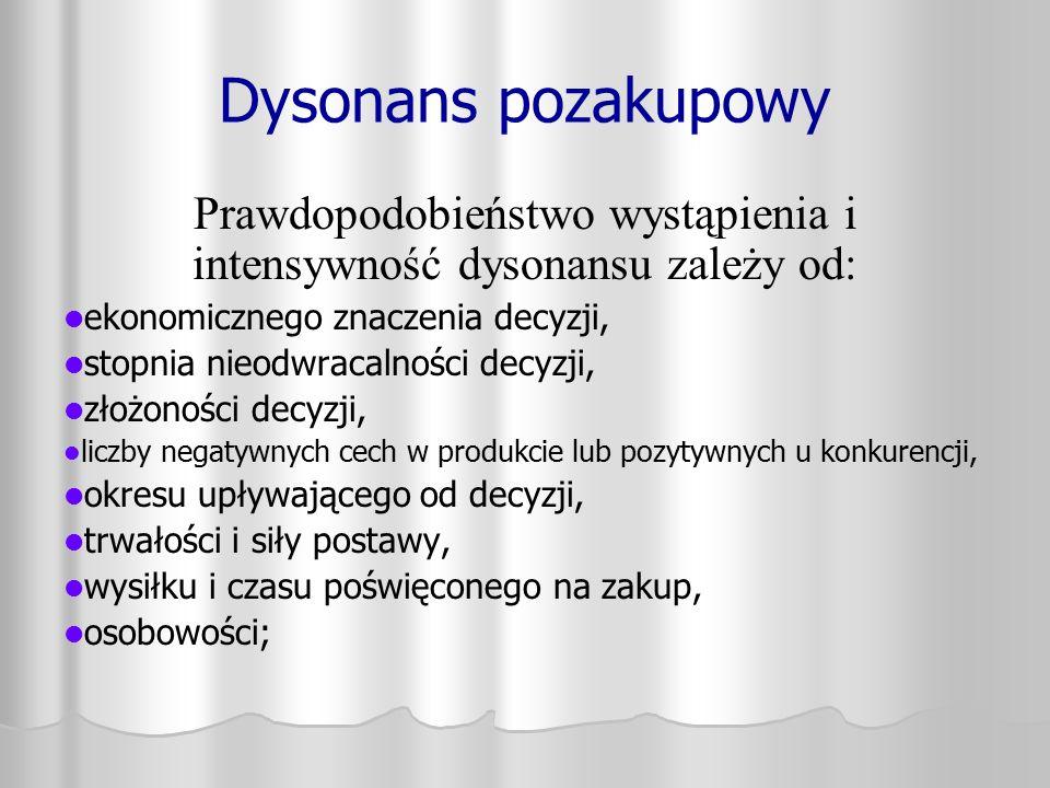 Prawdopodobieństwo wystąpienia i intensywność dysonansu zależy od: