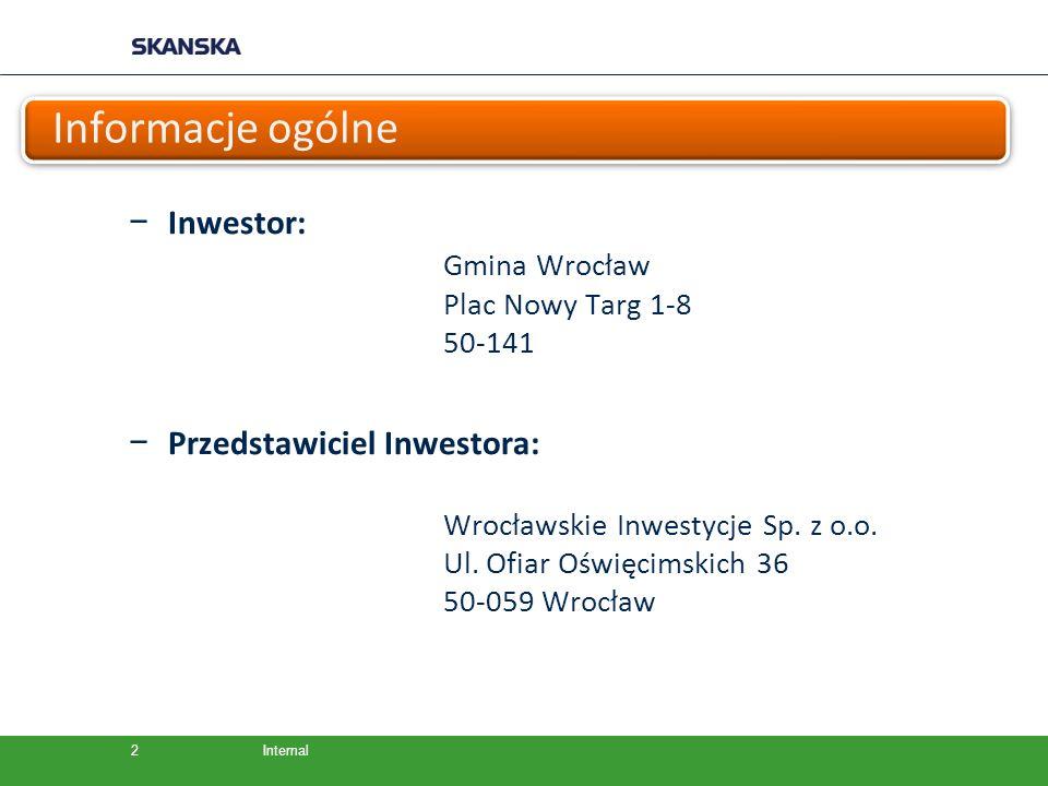 Informacje ogólne Inwestor: Gmina Wrocław Przedstawiciel Inwestora: