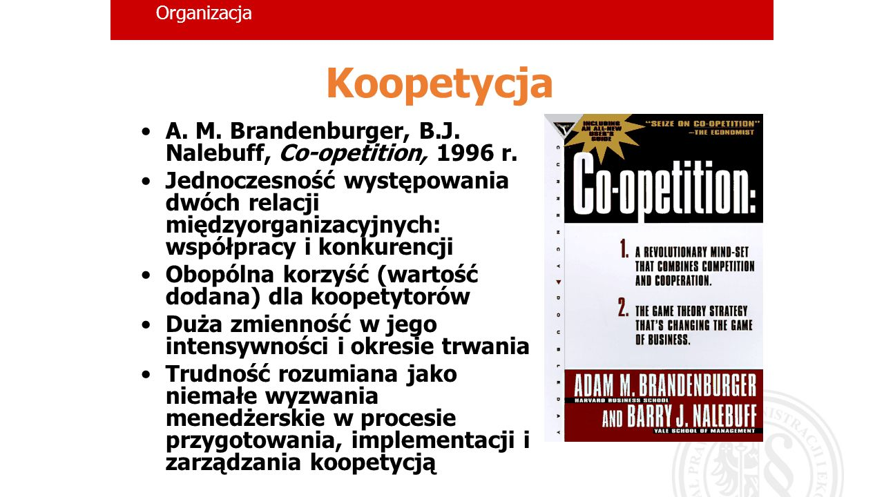 Koopetycja A. M. Brandenburger, B.J. Nalebuff, Co-opetition, 1996 r.