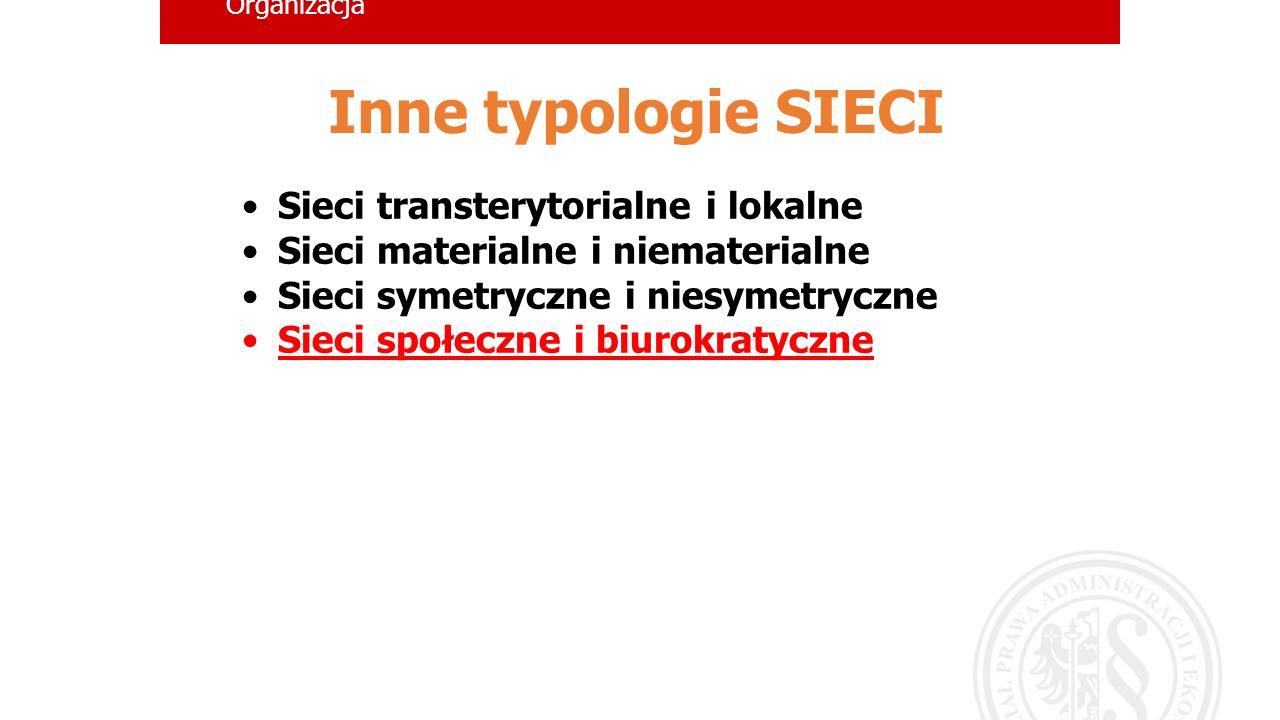 Inne typologie SIECI Sieci transterytorialne i lokalne