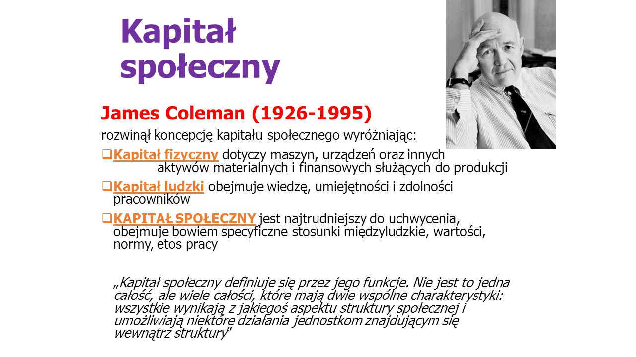 Kapitał społeczny James Coleman (1926-1995)