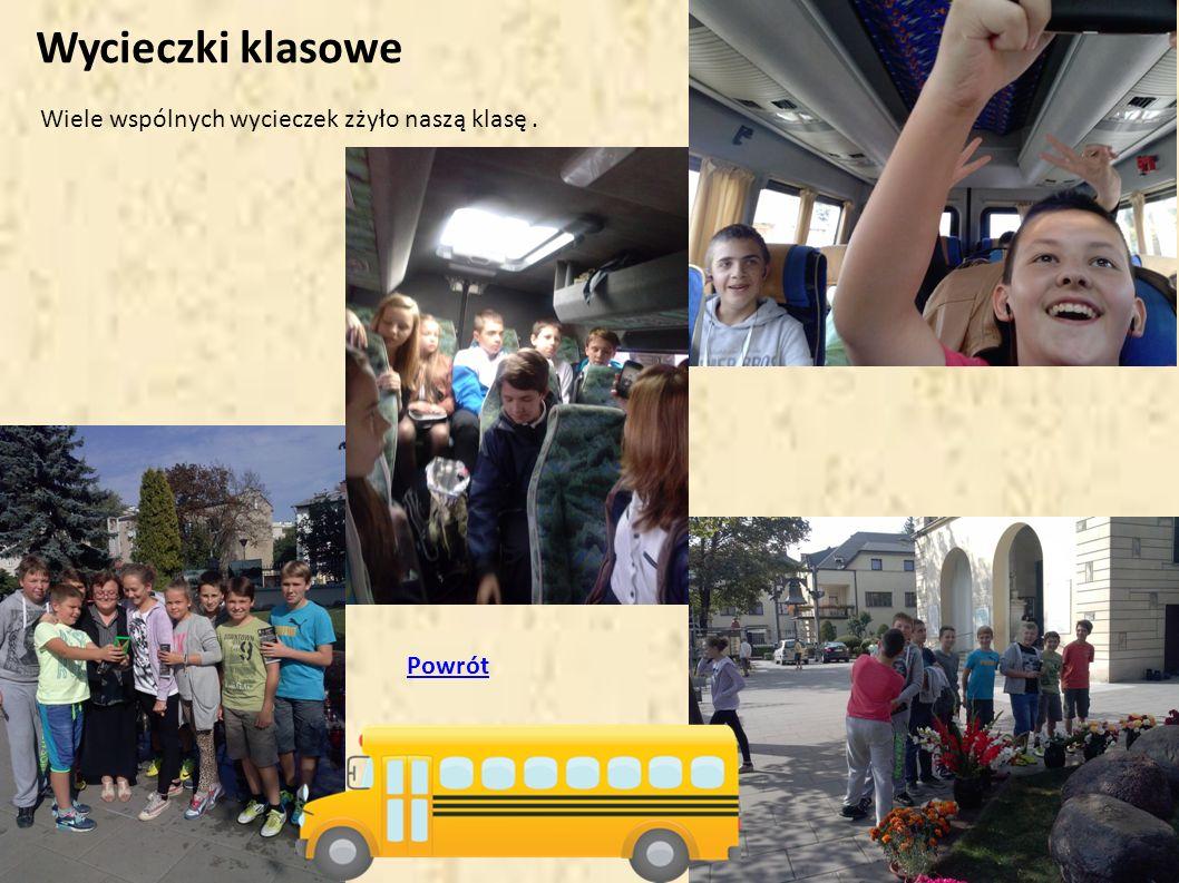 Wycieczki klasowe Wiele wspólnych wycieczek zżyło naszą klasę . Powrót