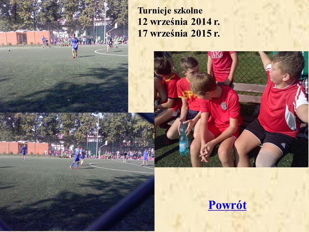 Turnieje szkolne 12 września 2014 r. 17 września 2015 r. Powrót
