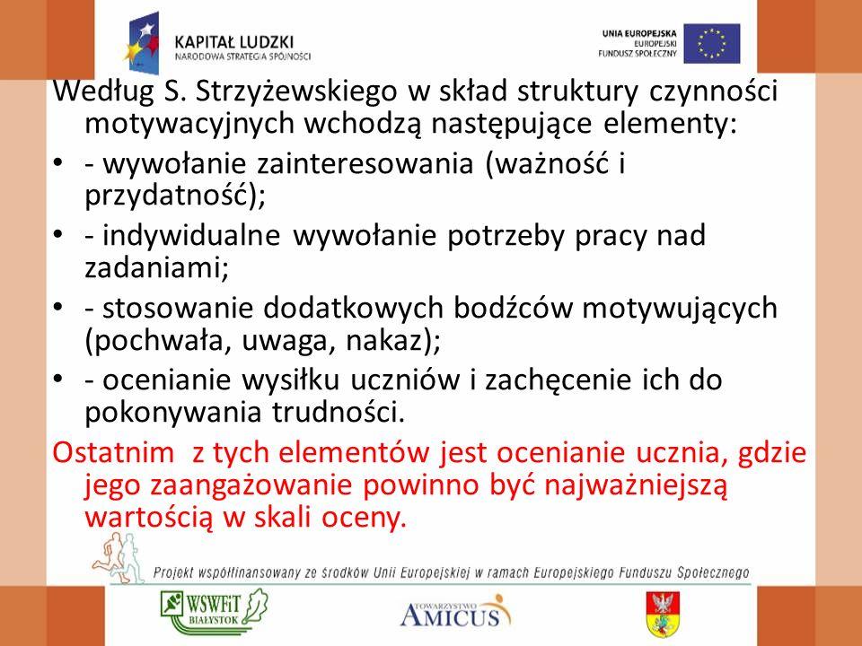 Według S. Strzyżewskiego w skład struktury czynności motywacyjnych wchodzą następujące elementy:
