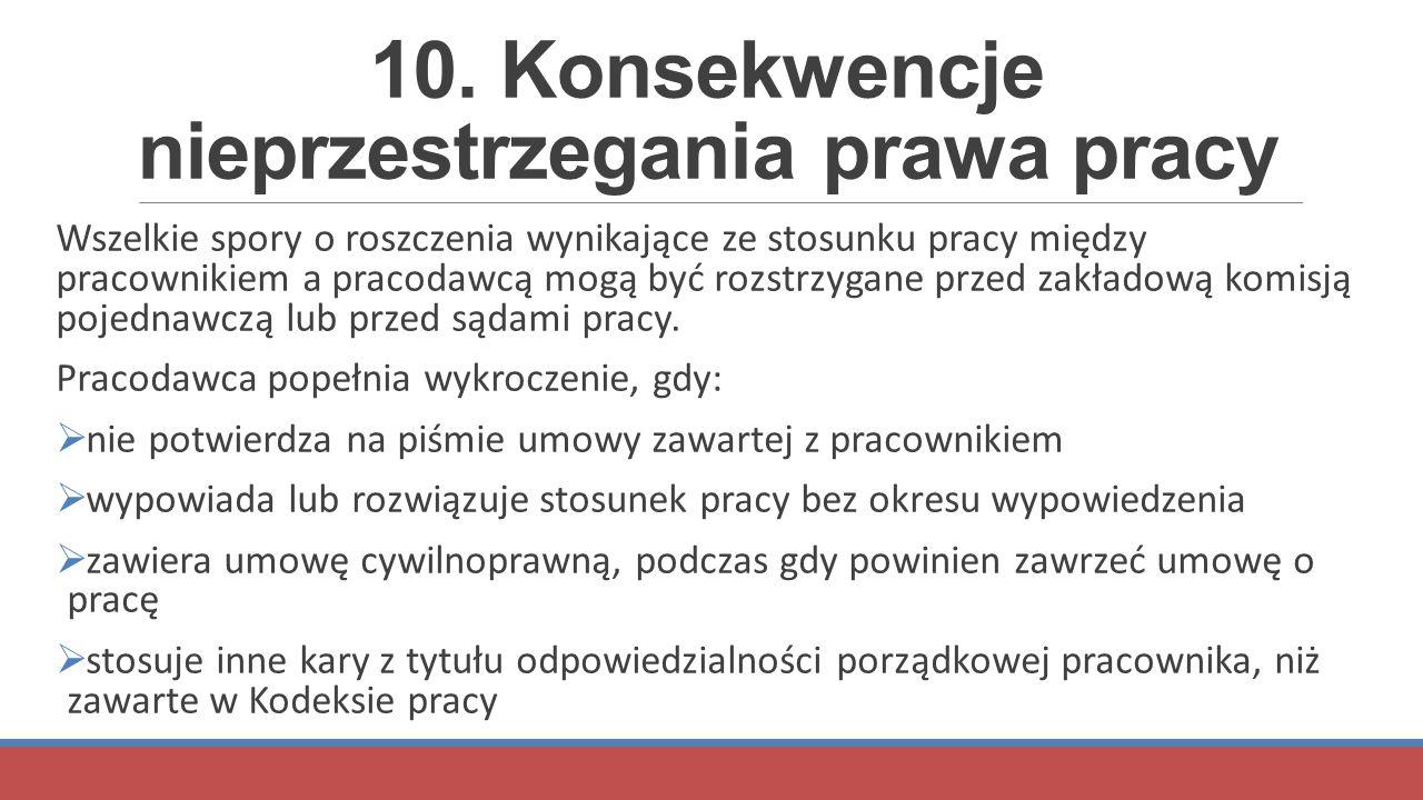 10. Konsekwencje nieprzestrzegania prawa pracy