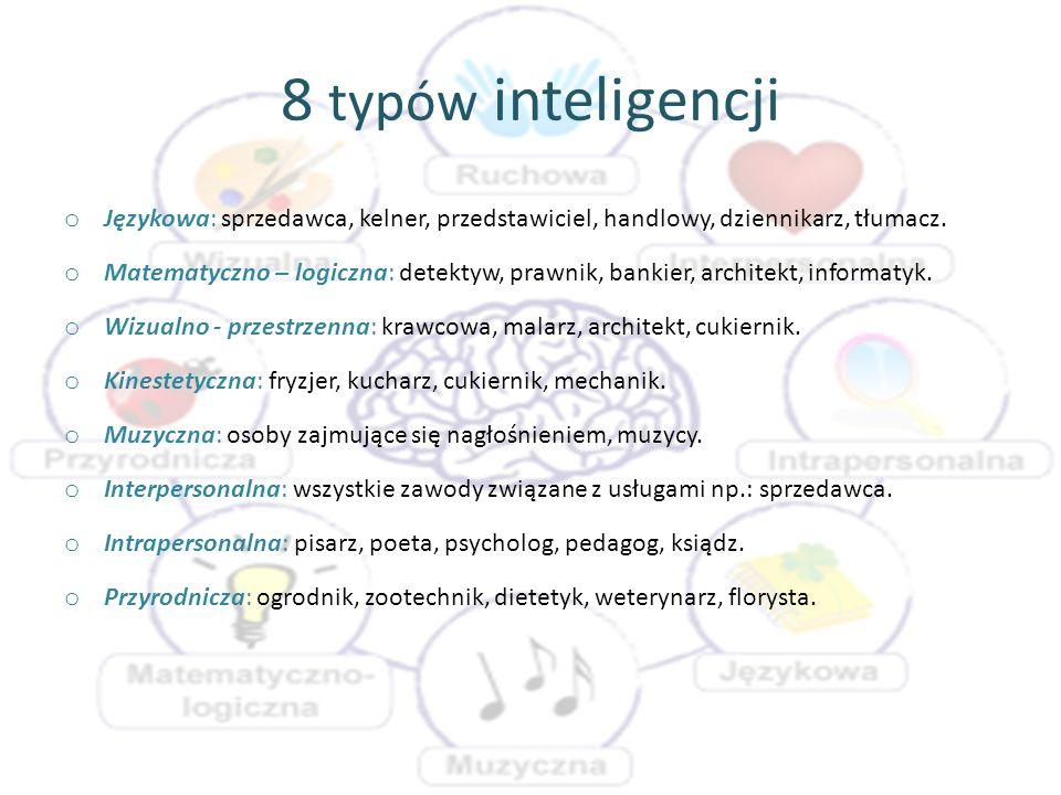 8 typów inteligencji Językowa: sprzedawca, kelner, przedstawiciel, handlowy, dziennikarz, tłumacz.