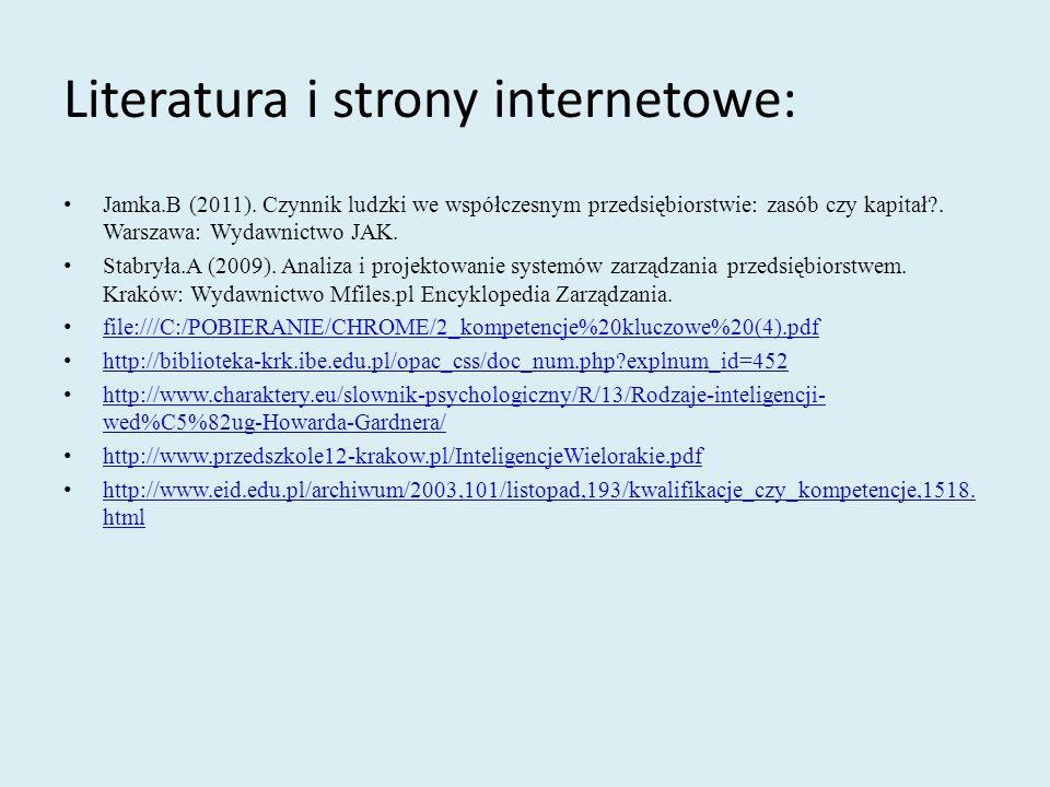 Literatura i strony internetowe:
