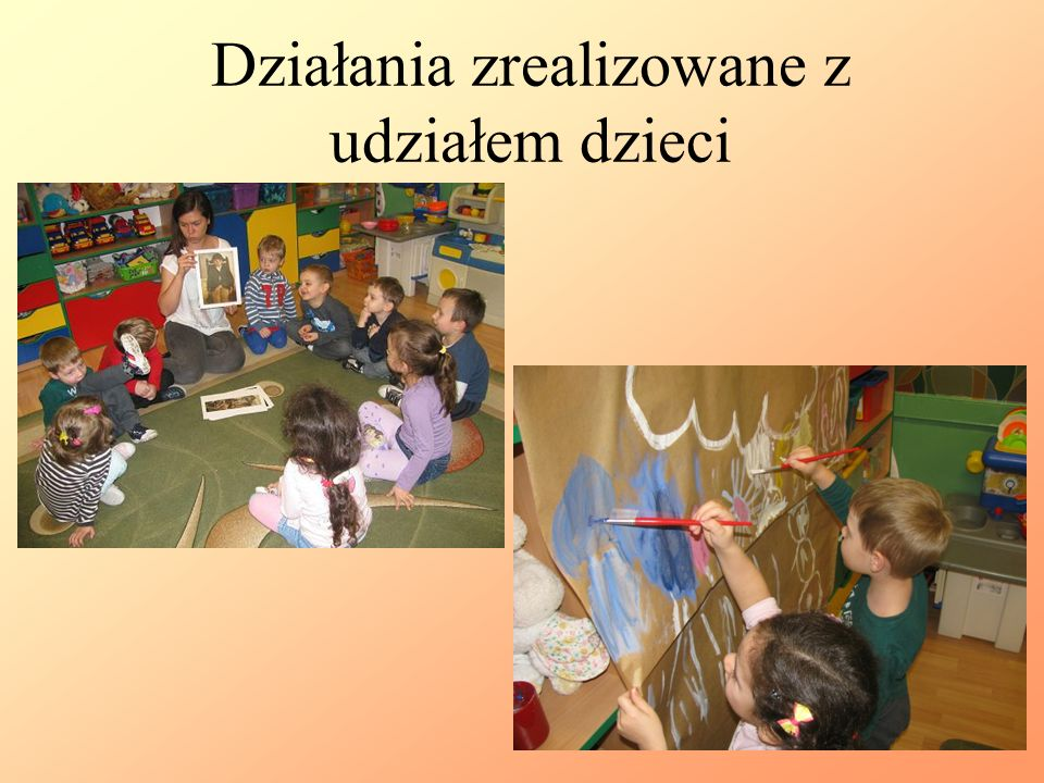 Działania zrealizowane z udziałem dzieci