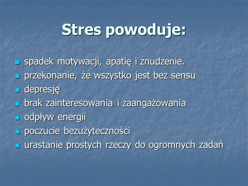 Stres powoduje: spadek motywacji, apatię i znudzenie.