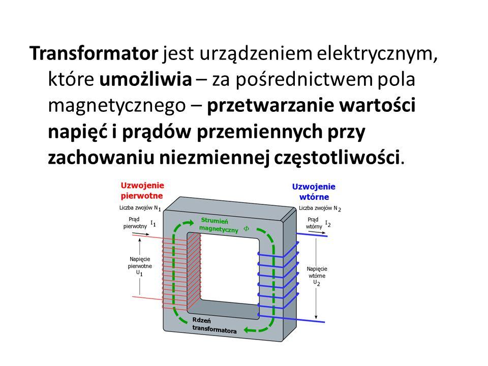 Transformator jest urządzeniem elektrycznym, które umożliwia – za pośrednictwem pola magnetycznego – przetwarzanie wartości napięć i prądów przemiennych przy zachowaniu niezmiennej częstotliwości.