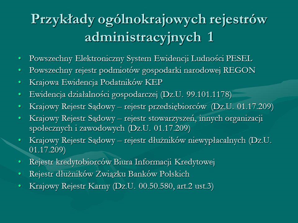 Przykłady ogólnokrajowych rejestrów administracyjnych 1