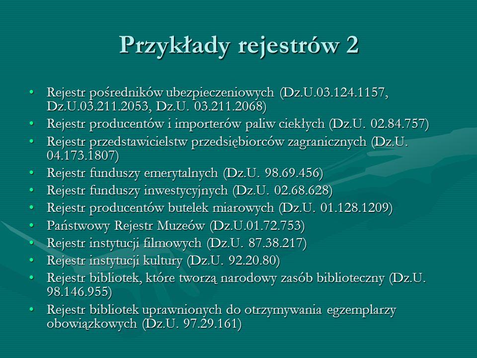 Przykłady rejestrów 2 Rejestr pośredników ubezpieczeniowych (Dz.U.03.124.1157, Dz.U.03.211.2053, Dz.U. 03.211.2068)