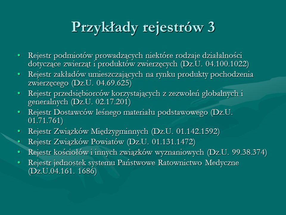 Przykłady rejestrów 3 Rejestr podmiotów prowadzących niektóre rodzaje działalności dotyczące zwierząt i produktów zwierzęcych (Dz.U. 04.100.1022)