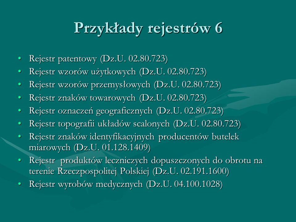 Przykłady rejestrów 6 Rejestr patentowy (Dz.U. 02.80.723)