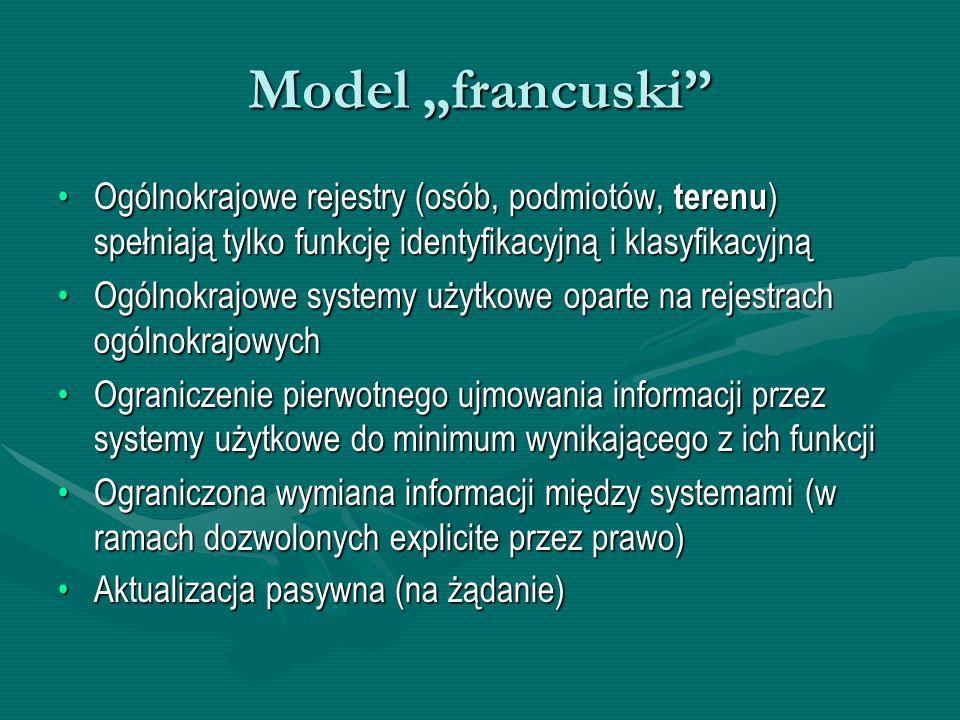 """Model """"francuski Ogólnokrajowe rejestry (osób, podmiotów, terenu) spełniają tylko funkcję identyfikacyjną i klasyfikacyjną."""