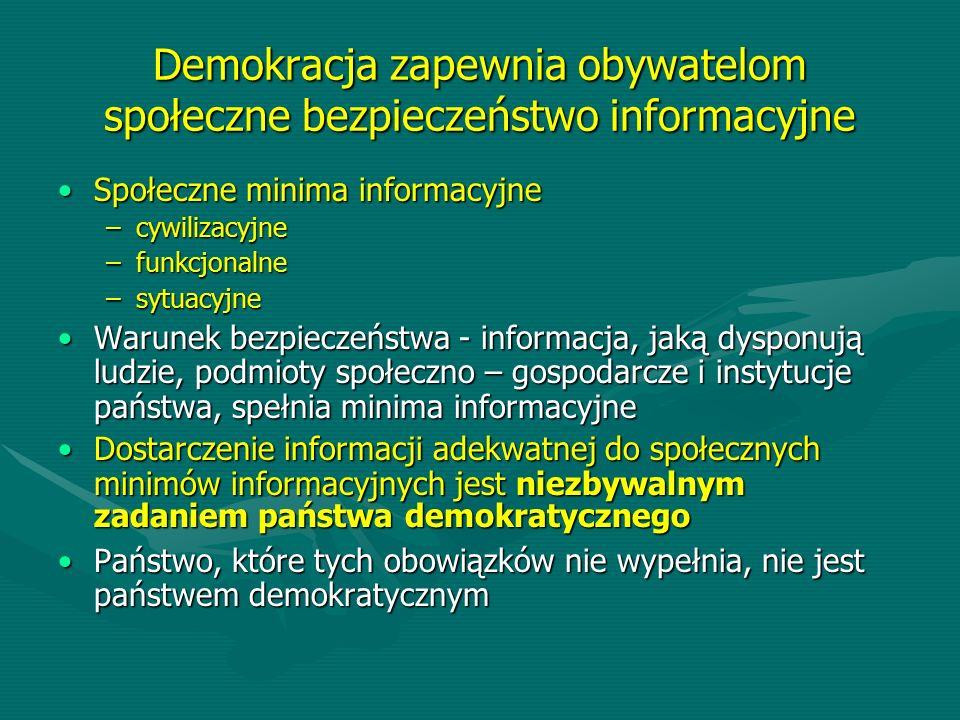 Demokracja zapewnia obywatelom społeczne bezpieczeństwo informacyjne